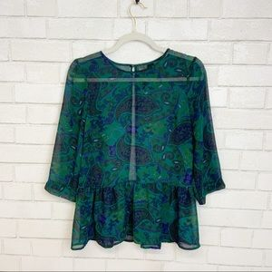 Petticoat Alley Sheer Paisley Blouse size M (M20)